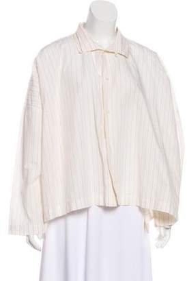 eskandar Striped Button-Up Top