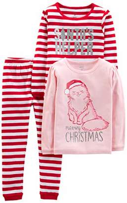 Carter's Simple Joys by Girls' Toddler 3-Piece Snug-Fit Cotton Christmas Pajama Set