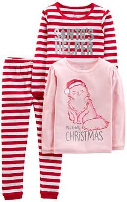 Carter's Simple Joys by Girls' Little Kid 3-Piece Snug-Fit Cotton Christmas Pajama Set