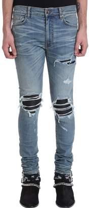 Amiri Mx 1 Leather Patch Blue Denim Jeans