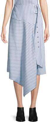 Tibi Striped Asymmetrical Midi Skirt