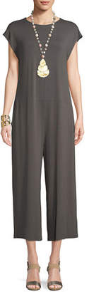 Eileen Fisher Lightweight Viscose Jersey Cap-Sleeve Jumpsuit, Petite