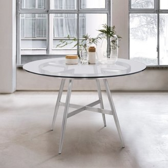 clear Armen Living Soleil Contemporary Dining Table in Brushed Stainless Steel and Glass Top