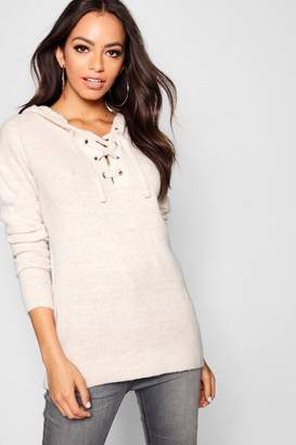 boohoo Lace Up Soft Knit Jumper