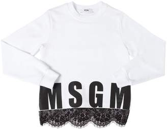 MSGM Logo Cotton Sweatshirt W/ Lace Hem
