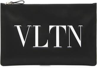 Valentino Logo Graphic Flat Leather Pouch