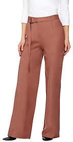Halston H by Petite Linen Blend Wide Leg Pants