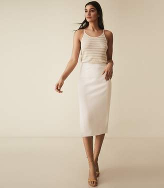Reiss ROXANNE SIDE SPLIT PENCIL SKIRT Ivory