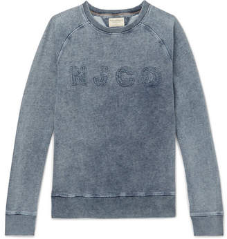 Nudie Jeans Samuel Distressed Logo-Appliquéd Washed Loopback Cotton-Jersey Sweatshirt