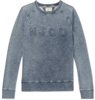 Nudie Jeans Samuel Distressed Logo-Appliqued Washed Loopback Cotton-Jersey Sweatshirt - Blue