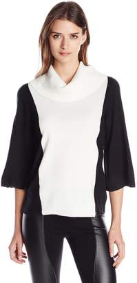 Knits by Hampshire Women's Marilyn Neck Kimono Sleeve Colorblock Sweater