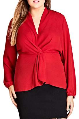 City Chic Plus Twist-Front Top
