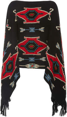 Ralph Lauren Intarsia-Knit Fringed Silk Poncho Sweater