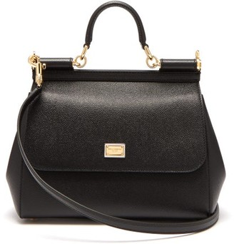 Dolce & Gabbana Sicily Medium Grained Leather Bag - Womens - Black