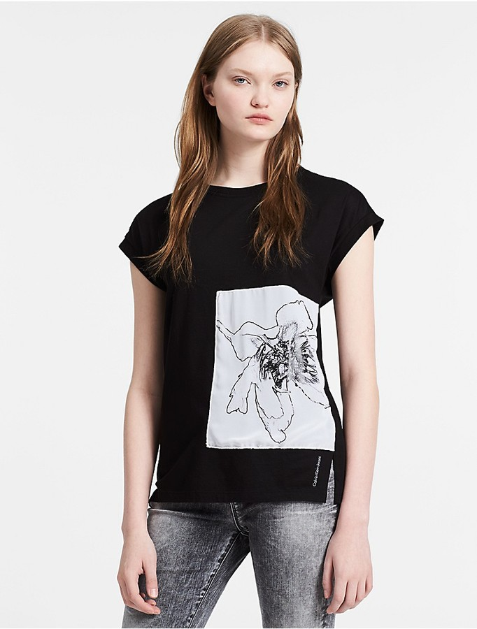 Calvin Klein Straight Floral Panel T-Shirt