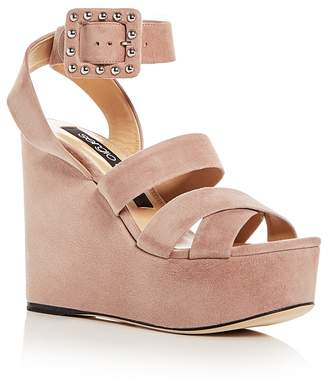 Sergio Rossi Women's Elettra Suede Ankle Strap Platform Wedge Sandals