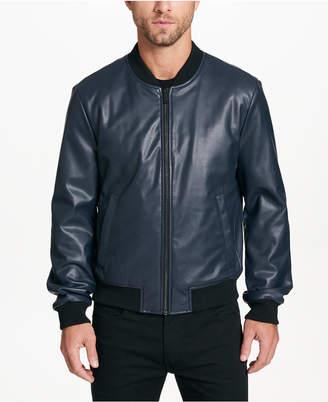DKNY Men's Faux-Leather Full-Zip Jacket
