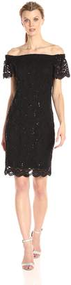 Tiana B Women's Sequence Lace Off The Shoulder Ruffle Sleeve Dress
