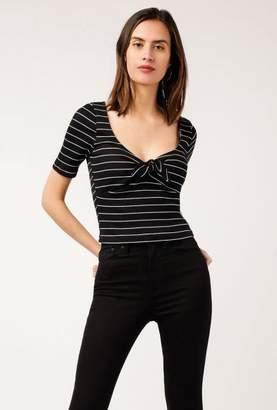 Azalea Striped Knit Front Tie Crop To