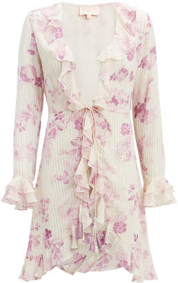 Rococo Sand Lilac Floral Mini Cover-Up Dress