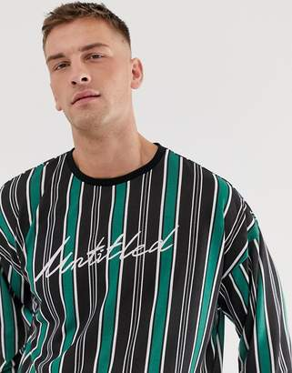 UNTITLED Asos Design ASOS DESIGN oversized long sleeve t-shirt with vertical stripe and print