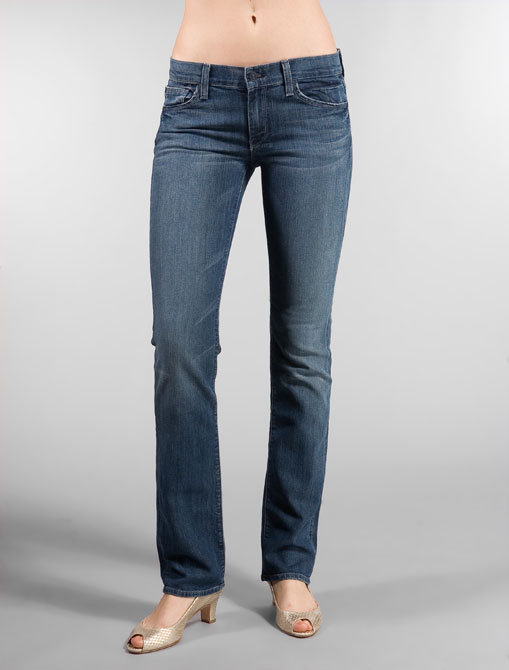 7 For All Mankind Straight Leg with Crystal Two Tone Flap