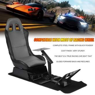 Leepsom Gaming Chair with Footrest Racing Simulator Seat With Steering Wheel Support Durable Driving Seat