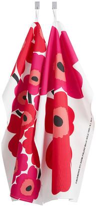 Marimekko Unikko Tea Towel - Pack of 2 - White/Red