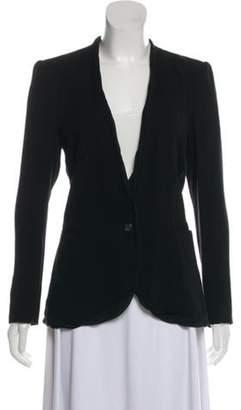 Helmut Lang Silk-Trimmed Knit Blazer Black Silk-Trimmed Knit Blazer