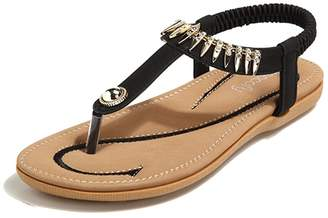 Socofy Bohemian Sandals, Women's Clip Toe Flip Flops Shoes T-Strap Flat Sandals Summer Slip On Comfy Beach Shoes Casual Walking Shoes Rubber Sole