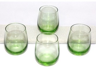 GM Glass Naturally Colored Green Crystal Stemless Wine Glass Tumblers 4 pack