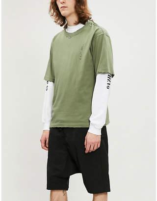 Unravel Ripped crewneck cotton T-shirt