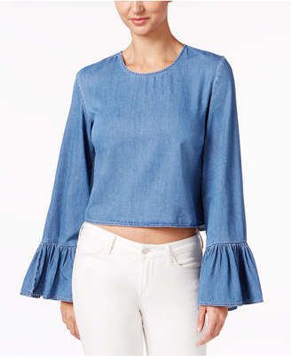 Buffalo David Bitton Thandi Bell-Sleeve Cropped Top $69 thestylecure.com