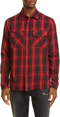 Marcelo Burlon County of Milan Heart Wings Plaid Cotton Button-Up Sport Shirt
