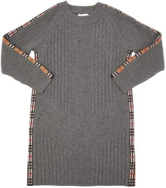Burberry Plaid Detail Cashmere Knit Dress