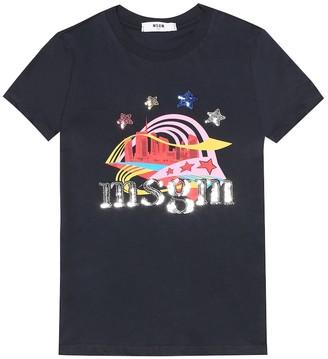 MSGM Kids Sequined logo cotton T-shirt