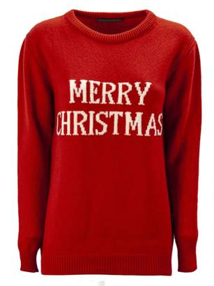 Alberta Ferretti merry Christmas Red Long Pullover.