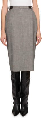 Altuzarra Buckled-Waist Plaid Crepe Skirt