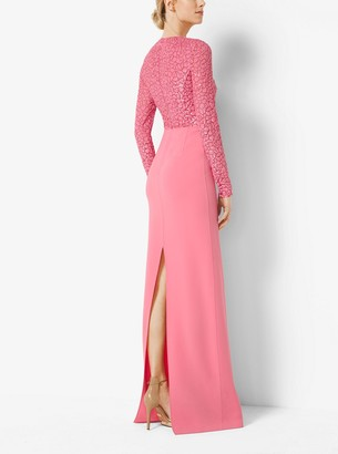 Michael Kors Embroidered Stretch Wool-Crepe Gown