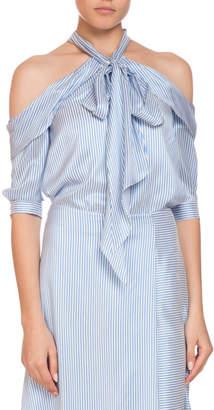 Erdem Elin Striped Silk Cold-Shoulder Tie-Neck Top