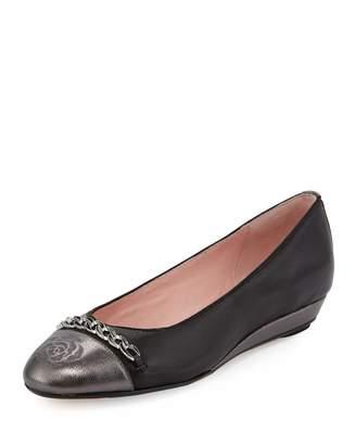Taryn Rose Paola Leather Comfort Flat, Black Metallic $169 thestylecure.com