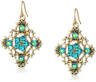 1928 Jewelry Gold-Tone and Blue AB Filigree Drop Earrings