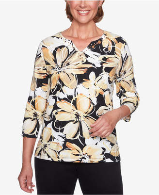 Alfred Dunner Petite Travel Light Floral-Print 3/4-Sleeve Top