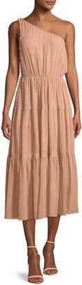 A.L.C. Tenley One-Shoulder Tiered Silk Midi Dress
