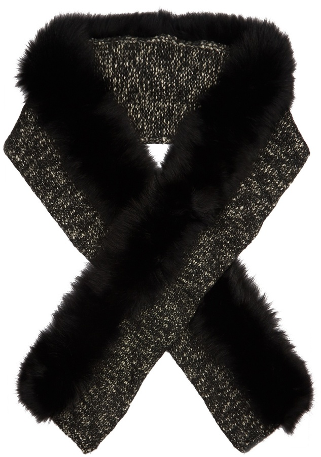 MonclerMONCLER Fur-trimmed wool-blend scarf