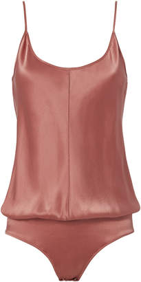T by Alexander Wang Silk Cami Rose Bodysuit $275 thestylecure.com