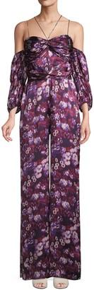 AMUR Floral-Print Cold-Shoulder Jumpsuit