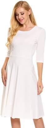 HOTOUCH Women's elegant 3/4 Sleeve Empire Below Knee Length Party Dress XL