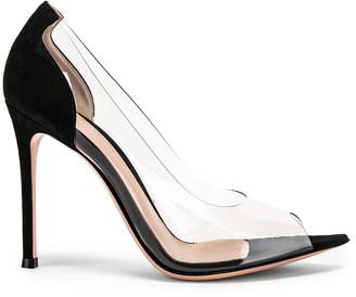 Gianvito Rossi Open Toe Heel in Black & Transparent | FWRD