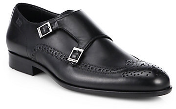 HUGO BOSS Brossio Double Monk Strap Leather Dress Shoes